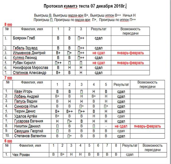 Протокол кумитэ теста 07.12.